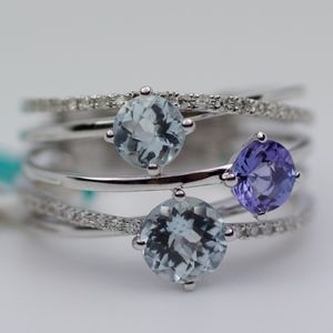 EFFY 14k White Gold Aqua Tanzanite Diamond Ring